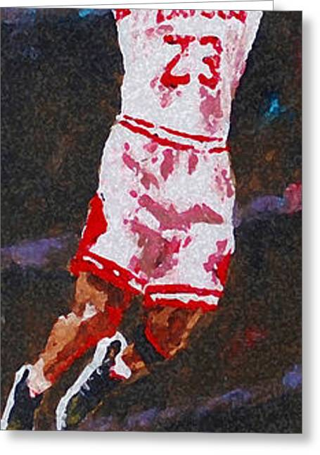 Dunking Paintings Greeting Cards - Mj Greeting Card by Pete Lopez