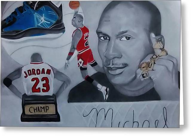 Famous Basketball Players Greeting Cards - Mjordan Greeting Card by Jetone Shumake
