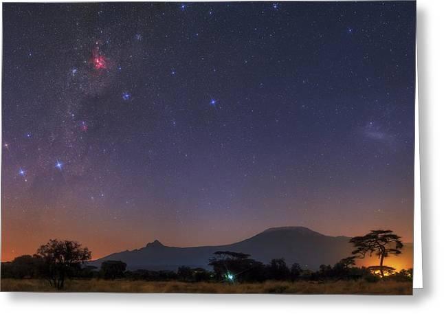 Mliky Way And Large Magellanic Cloud Greeting Card by Babak Tafreshi