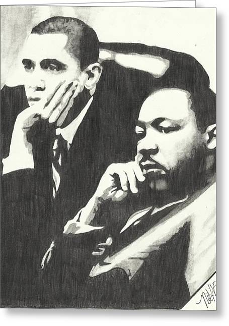 Mlk And President Obama Greeting Card by Pics By Nick