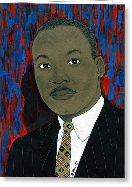President Obama Mixed Media Greeting Cards - Mlk Greeting Card by Delvon