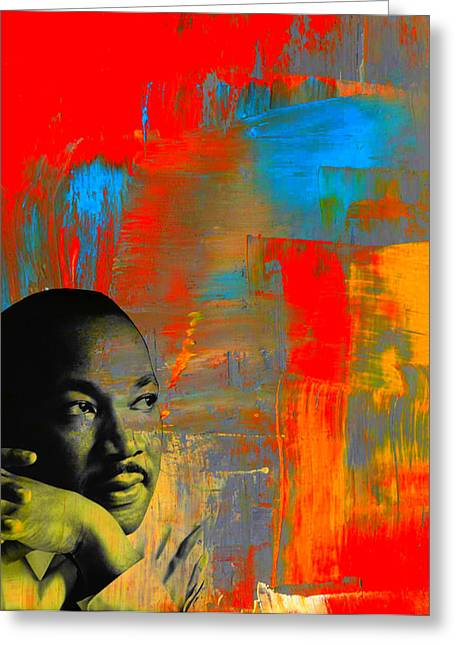 Martin Luther King Mixed Media Greeting Cards - MLK Dreams Greeting Card by Michelle Dallocchio