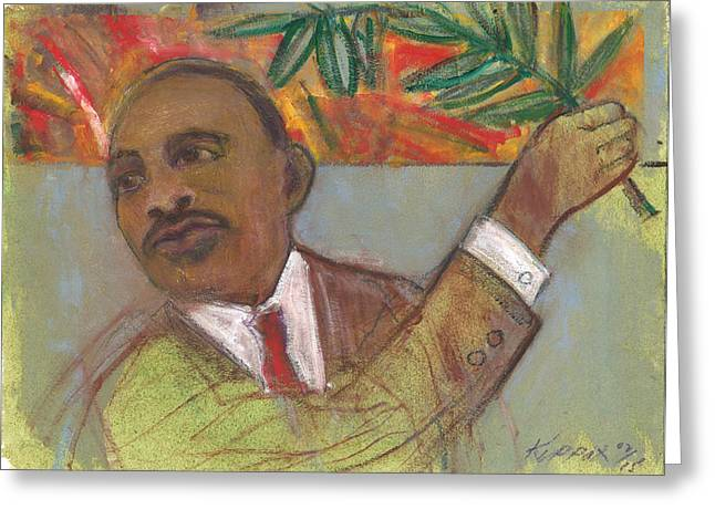 Martin Luther King Jr. Pastels Greeting Cards - MLK Jrs Olive Branch Of Peace Greeting Card by Kippax Williams