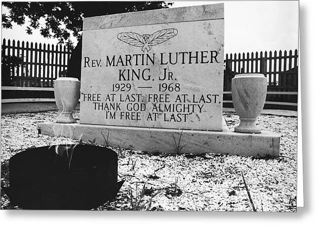Discrimination Greeting Cards - Mlks Original Grave Greeting Card by Tom McHugh