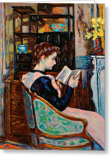 Armchair Greeting Cards - Mlle Guillaumin Reading Greeting Card by Jean Baptiste Armand Guillaumin
