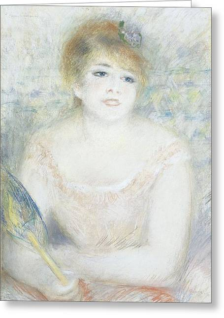 Actor Photographs Greeting Cards - Mlle. Jeanne Samary, C.1878 Pastel Greeting Card by Pierre Auguste Renoir