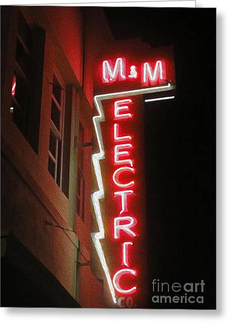 Downtown Pomona Greeting Cards - MM Electric Sign at Night Greeting Card by Gregory Dyer