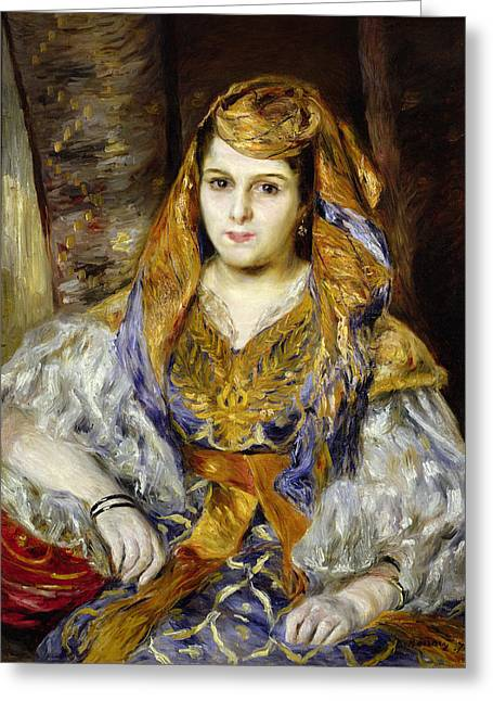 Costume Photographs Greeting Cards - Mme. Clementine Stora In Algerian Dress, Or Algerian Woman, 1870 Oil On Canvas Greeting Card by Pierre Auguste Renoir