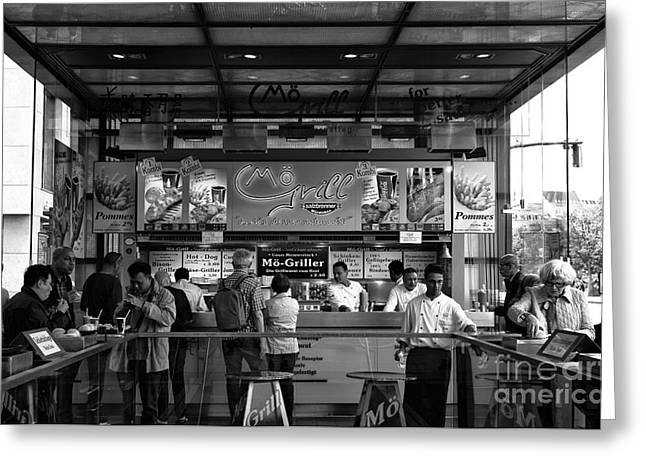 Mo Artist Greeting Cards - Mo Grill mono Greeting Card by John Rizzuto