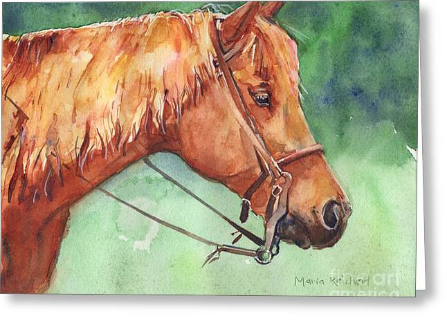 Quarter Horse Greeting Cards - Horse watercolor named Mo Greeting Card by Maria