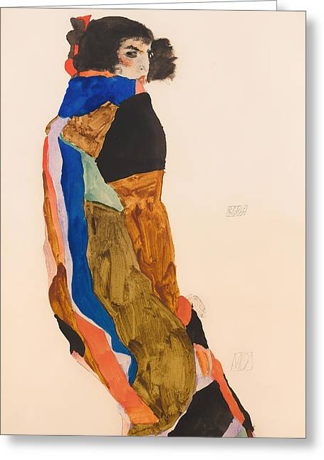 On Blanket Greeting Cards - Moa Greeting Card by Egon Schiele