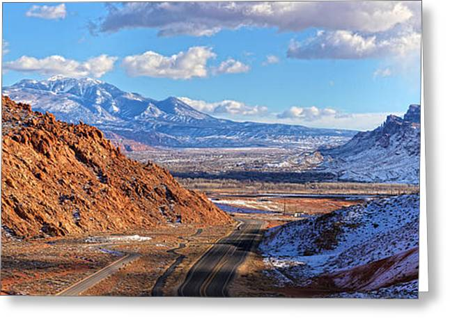 Southern Utah Greeting Cards - Moab Fault Panorama Greeting Card by Adam Jewell