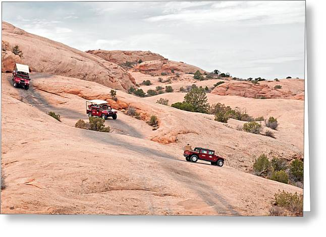 The Plateaus Greeting Cards - Moab Jeeps Greeting Card by Elijah Weber