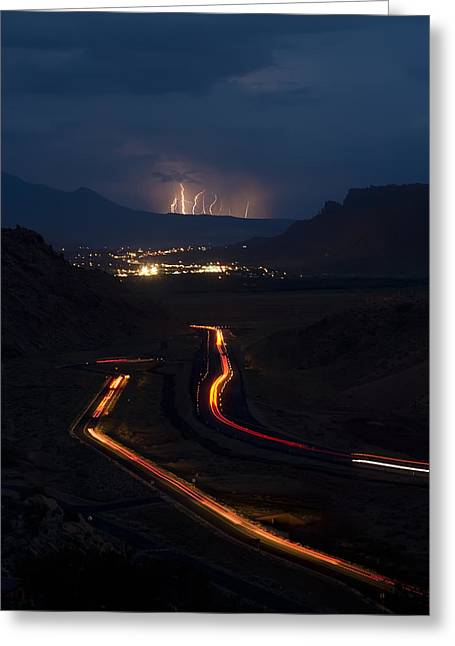 Highway Greeting Cards - Moab Storm Greeting Card by Adam Romanowicz