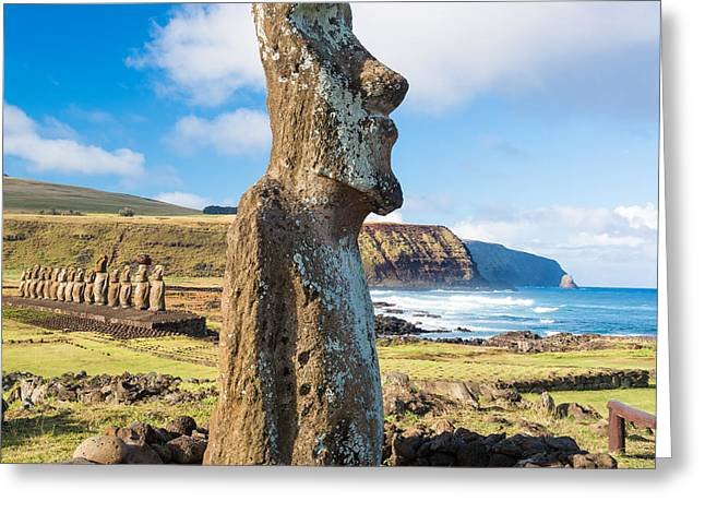 Moai Greeting Cards - Moai at Ahu Tongariki Greeting Card by Jess Kraft