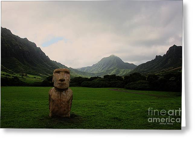 Moai Greeting Cards - Moai Greeting Card by Cheryl Young