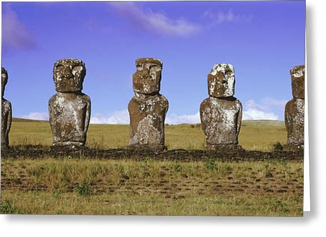 Colossal Greeting Cards - Moai Easter Island Chile Greeting Card by Panoramic Images