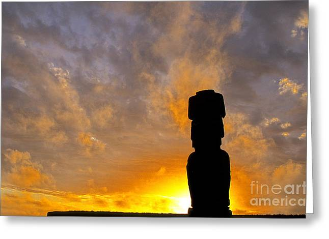World Destination Photographs Greeting Cards - Moai Easter Island Chile Greeting Card by Ryan Fox