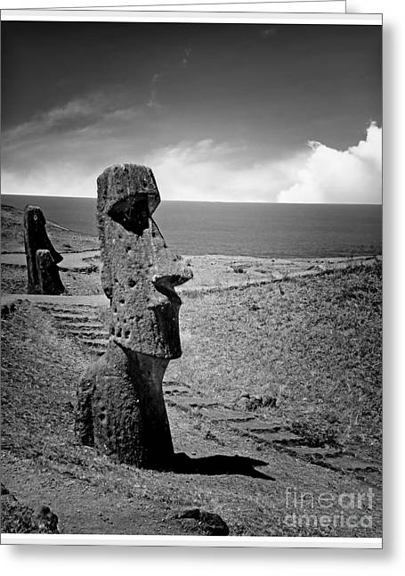 Moai Greeting Cards - Moai on Easter Island Greeting Card by Stefano Senise
