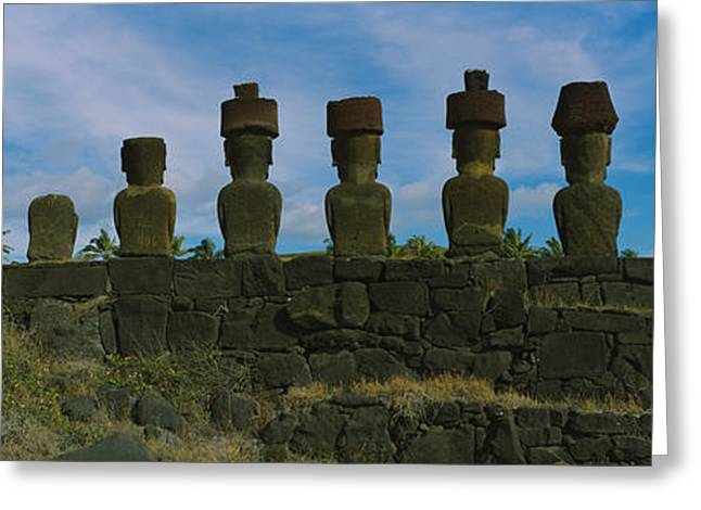 Civilization Greeting Cards - Moai Statues In A Row, Rano Raraku Greeting Card by Panoramic Images