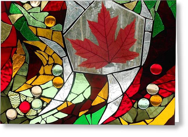 Green Leafs Glass Art Greeting Cards - Mosaic  Stained Glass - Canadian Maple Leaf Greeting Card by Catherine Van Der Woerd