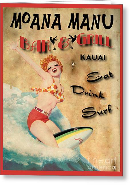 Vintage Pinup Greeting Cards - Moana Manu Greeting Card by Cinema Photography