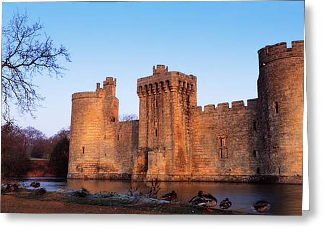 Moat Greeting Cards - Moat Around A Castle, Bodiam Castle Greeting Card by Panoramic Images