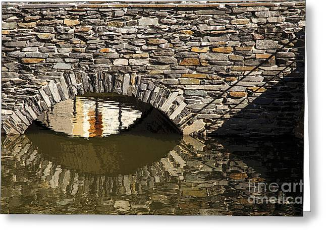 Moat Mountain Greeting Cards - Moat bridge reflection Greeting Card by Katja Zuske