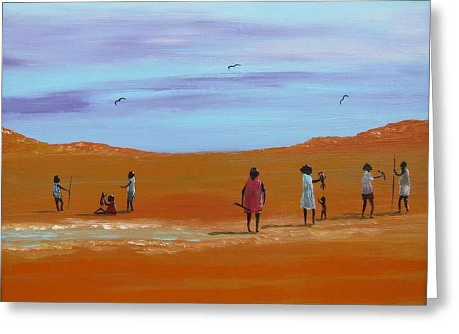 Aboriginal Mixed Media Greeting Cards - Mob At Water Hole Greeting Card by Owen Jones
