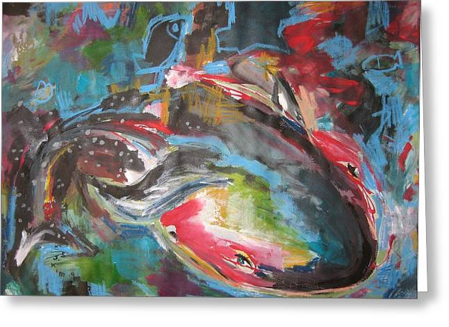 Mobie Joe The Whale-original Abstract Whale Painting Acrylic Blue Red Green Greeting Card by Seon-Jeong Kim