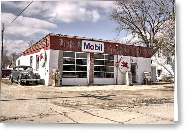 Petrol Station Greeting Cards - Mobil Car  Greeting Card by Rob Hawkins