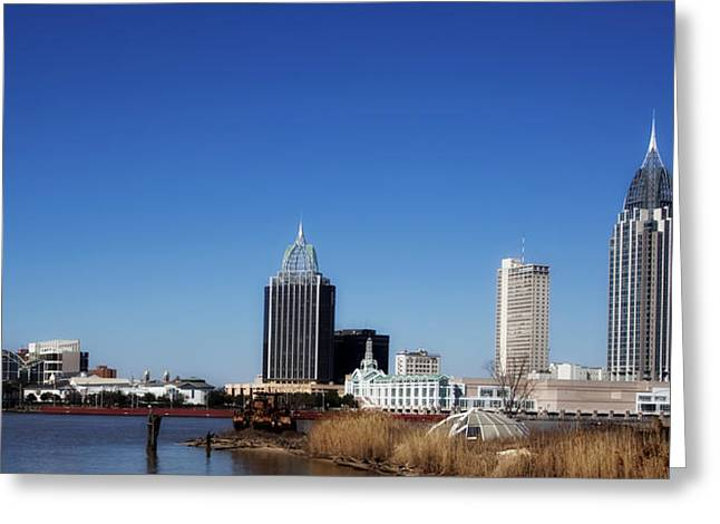 Ocean Panorama Greeting Cards - Mobile Alabama Panorama Greeting Card by Mountain Dreams