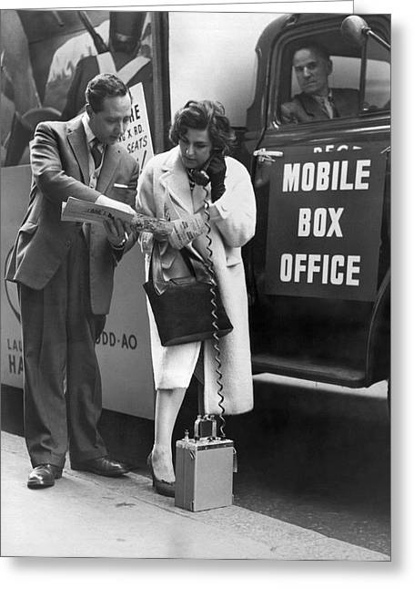 Ordering Greeting Cards - Mobile Box Office Phone Greeting Card by Underwood Archives