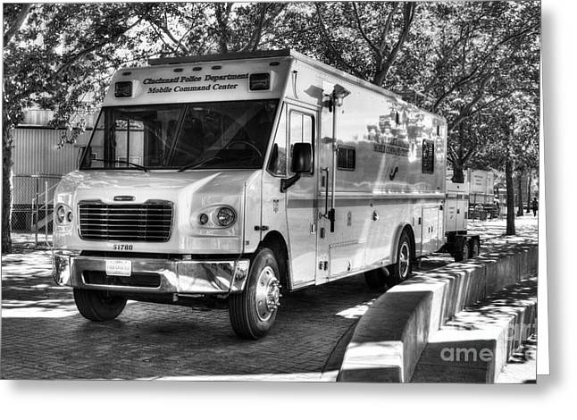 Police Department Greeting Cards - Mobile Command Center BW Greeting Card by Mel Steinhauer