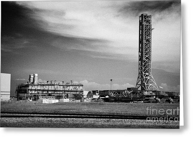 Launcher Greeting Cards - mobile launcher platform and crawler transporters and launch service structure gantry at Kennedy Spa Greeting Card by Joe Fox