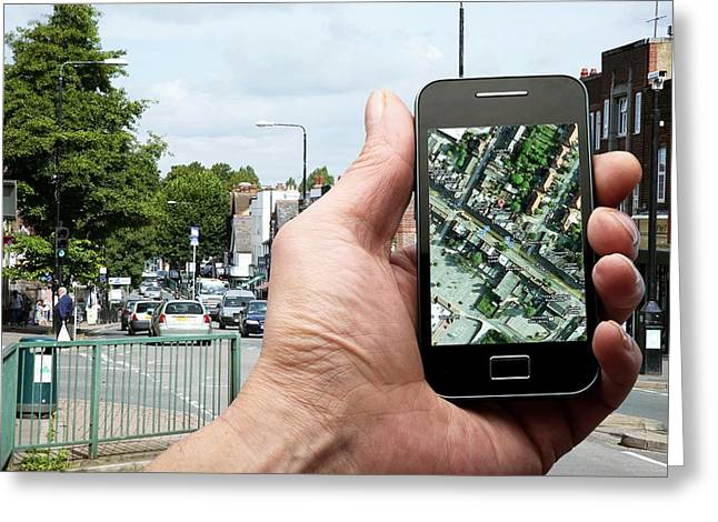 Mobile Phone Use Greeting Card by Science Photo Library