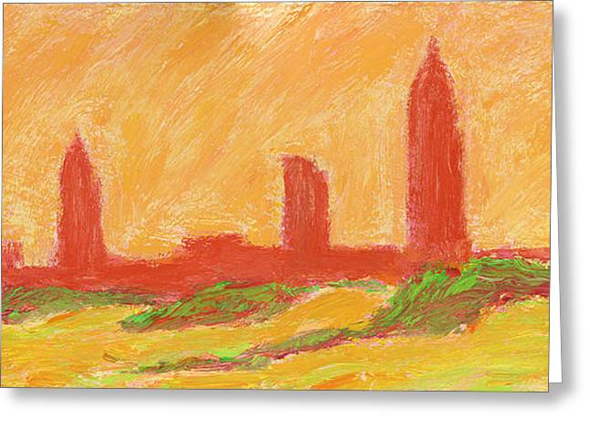 Gloaming Greeting Cards - Mobile Skyline Early Summer Morning Greeting Card by Vernon Reinike