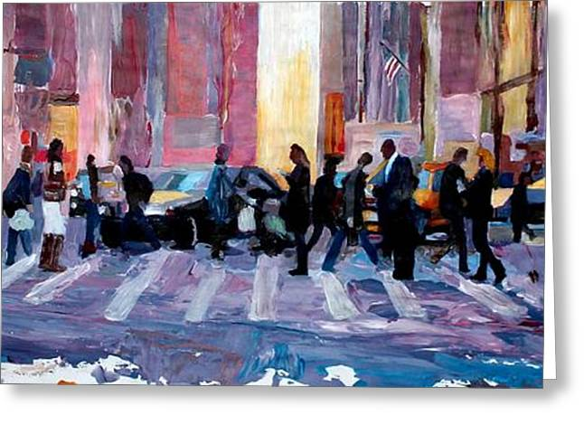 Crosswalk Greeting Cards - Mobile Society Crosswalking New York City Greeting Card by M Bleichner