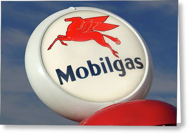 Signed Digital Greeting Cards - Mobilgas Globe Greeting Card by Mike McGlothlen