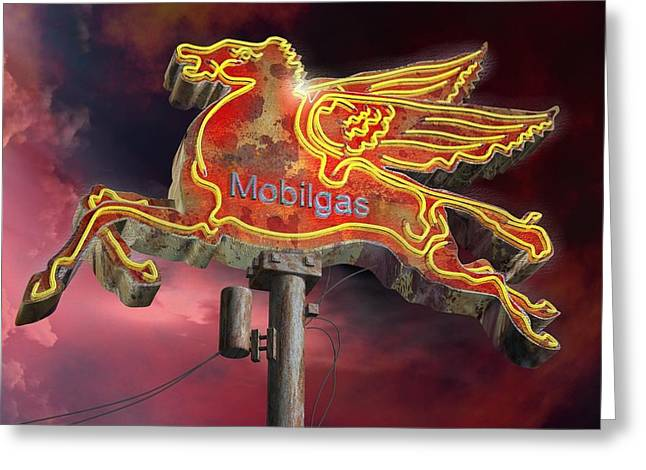 Circus Graphics Greeting Cards - Mobilgas Greeting Card by Larry  Page