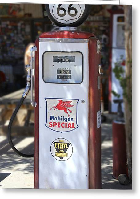 Route 66 Greeting Cards - Mobilgas Special - Tokheim Pump Greeting Card by Mike McGlothlen