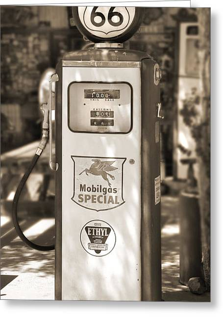 Gas Pumps Greeting Cards - Mobilgas Special - Tokheim Pump  - Sepia Greeting Card by Mike McGlothlen
