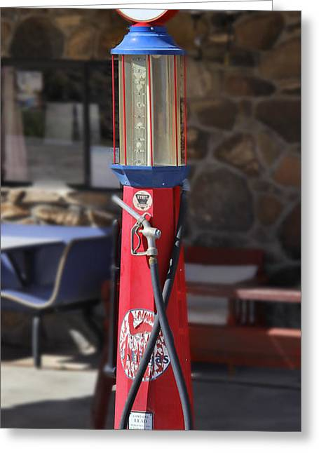 Visible Greeting Cards - Mobilgas Visible Gas Pump Greeting Card by Mike McGlothlen