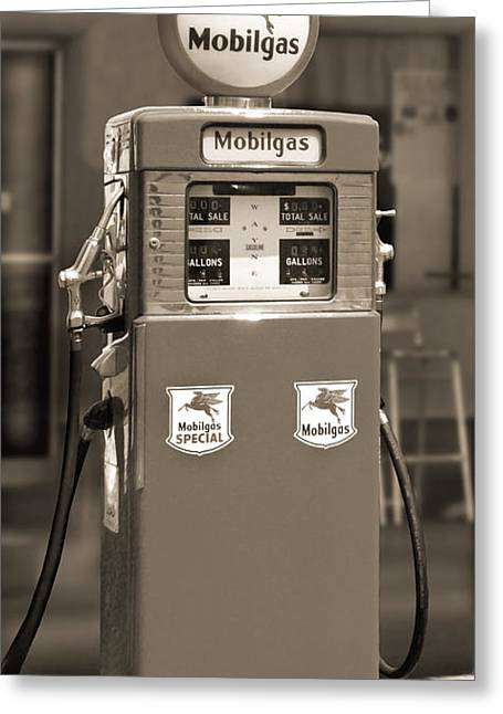 Mobilgas - Wayne Double Gas Pump 2 Greeting Card by Mike McGlothlen