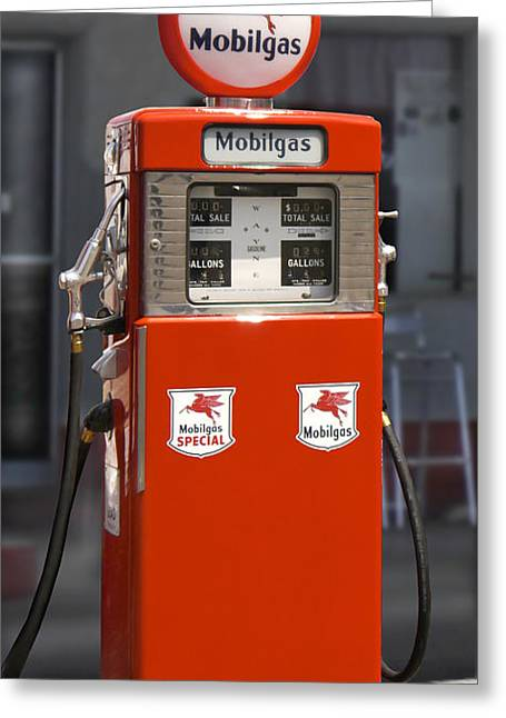 Gas Pumps Greeting Cards - Mobilgas - Wayne Double Gas Pump Greeting Card by Mike McGlothlen