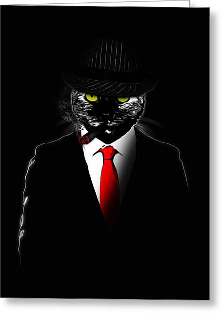 Cigar Mixed Media Greeting Cards - Mobster Cat Greeting Card by Nicklas Gustafsson