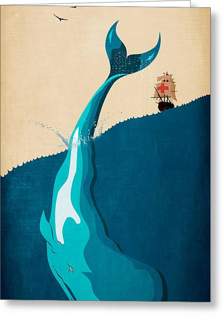 Moby Dick Greeting Cards - Moby Dick 2 Greeting Card by Mark Ashkenazi