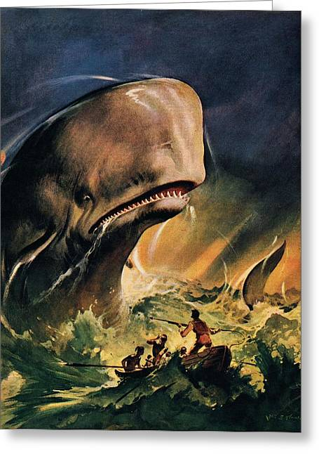 Moby Dick Greeting Cards - Moby Dick Greeting Card by James Edwin McConnell