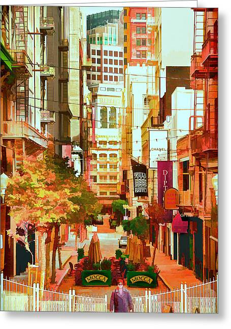 Union Square Photographs Greeting Cards - Mocca on Maiden Lane Greeting Card by Bill Gallagher