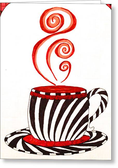 Everyday Drawings Greeting Cards - Mocha Zebra Stripe Large Greeting Card by Anita Lewis